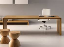 Wooden Office Desk Adorable Brown Wooden Office Desk Designs With Two Levels Plus