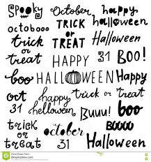 happy halloween lettering phrases quotes trick or treat boo