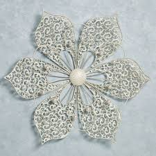 pretty petals ivory flower metal wall art