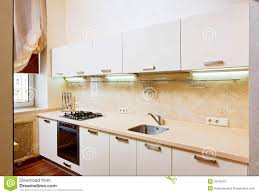 modern kitchen interior in beige stock image image 29159701