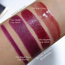 the makeup box kevyn aucoin bloodroses lip product swatches and