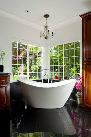 Chandelier Above Bathtub Inspired Soaker Tub In Bathroom Asian With Clawfoot Tub Shower