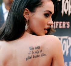 megan fox quote on right back shoulder