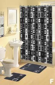 Bathroom Shower Curtain And Rug Set Shower Curtains 17 Pcs Set Contemporary Bath Mat Contour Rug Hooks