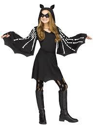girls sweet skeleton bat wings hooded ears dress child costume