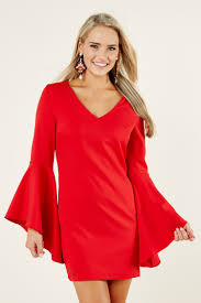 red dress bell sleeve dress long sleeve dress 48 00