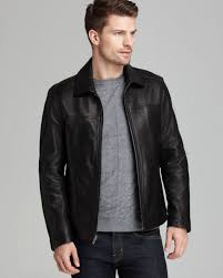 mens moto jacket cole haan smooth leather moto jacket in black for men lyst
