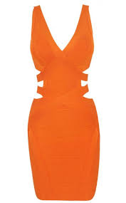 miranda cut out sides bandage bodycon dress in orange the