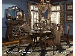 Michael Amini Dining Room Sets Michael Amini The Sovereign Round Dining Table W 6 Side Chairs