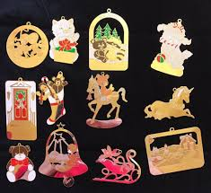 lot of 12 vintage g duchin gold tone ornaments collectibles