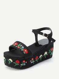 flower embroidery denim wedge sandalsfor women romwe