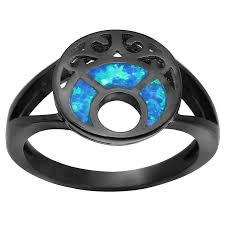 fire opal rings images 2018 black gold plated blue moon fire opal rings for women hot jpg