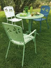 Old Fashioned Metal Outdoor Chairs by Furniture Retro Metal Patio Chairs Over Grass With Also Green