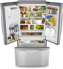 Refrigerator With French Doors And Bottom Freezer - whirlpool wrf767sdem 36 inch french door refrigerator with 27 cu