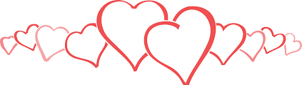free clipart of a row of big and little love hearts