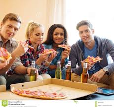 friends with pizza and bottles of drink stock photo image 40392068