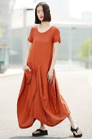orange linen dress womens linen lagenlook clothing casual
