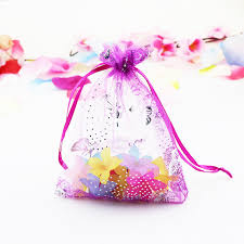 organza bag hot pink organza bag 11x16cm butterfly pattern drawable wedding