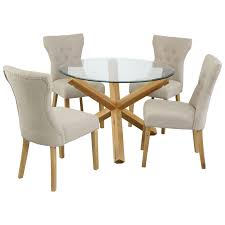 Table And Chair Sets Oak Glass Round Dining Table And Chair Set With 4 Fabric