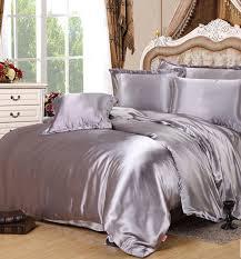 Bed Set Comforter Silver Silk Comforter Sets Grey Satin Bedding Set Sheets Duvet