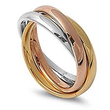 tricolor ring 3mm stainless steel tri color interlocked rolling band
