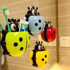 Elmo Bathroom Set 1pc Ladybug Toothbrush Holder Toiletries Toothpaste Holder