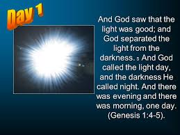 what day did god create light the six days of creation ppt video online download