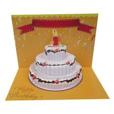 custom birthday cake 3d greeting card 7x5 artscow com