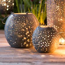 round punched gunmetal lanterns the green head