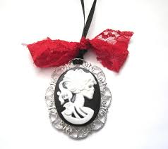 skull ribbon dead girl skeleton large cameo necklace skull girl cameo vs