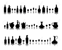 wine vector black silhouettes of glasses and bottles of wine vector royalty