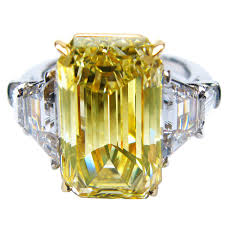 fancy yellow diamond engagement rings 8 25 carat certified fancy yellow emerald cut diamond