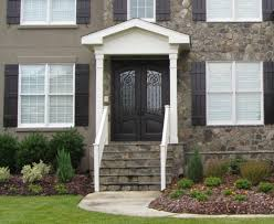 decorating stylish brown wooden front entry door with stained