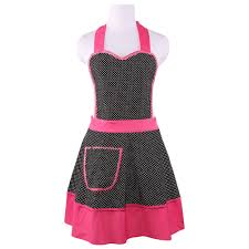 online get cheap black kitchen aprons cotton aliexpress neoviva thick canvas kitchen apron for women with pocket style zoe polka dots black