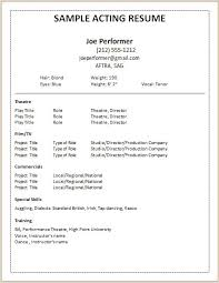Beginner Resume Templates Acting Resume Beginner Acting Resume Sample Beginner Resume