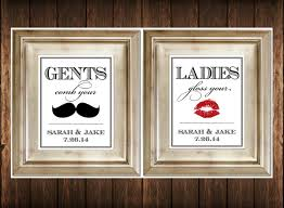 Mustache Home Decor by Set Of 2 Bathroom Signs Customized Ladies U0026 By Serenitynowstudio
