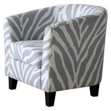Grey And White Accent Chair Upholstered Gray Zebra Tub Chair