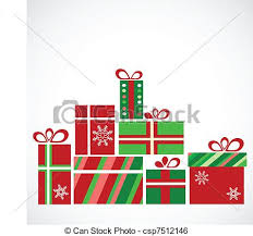 clip art vector of pile of presents for christmas vector