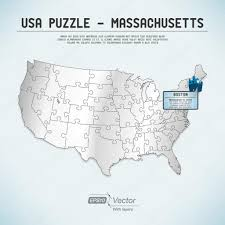 Massachusetts State Map by Usa Map Puzzle One State One Puzzle Piece Massachusetts