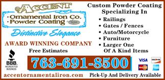 accent ornamental iron powder coating cambridge mn 55008 1607
