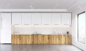 tableau blanc cuisine vue de de l intérieur de la cuisine blanche et en bois avec