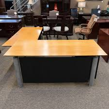 Used L Shaped Desk Used Davis L Shaped Desk Maple Del1515 001 Office Furniture Dallas