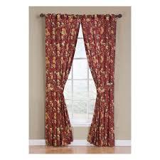 Waverly Curtain Panels Shop Waverly Felicite 84 In Crimson Cotton Back Tab Single Curtain