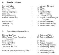 list of regular holidays and special non working days for 2018