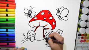 draw and color mushroom butterfly bee ladybug coloring page and