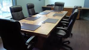 Leather Placemats For Conference Table Leather Pads In A Rustic Setting The Office Inc
