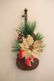 winter christmas wreath repurposed from violin by