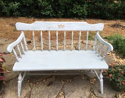 Shabby Chic Bench Vintage Chalk Painted Deacon Bench Distressed Country Bench