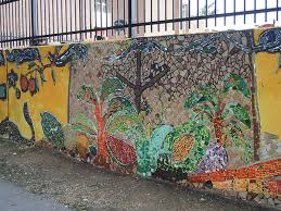 here s a map of the murals around columbia heights as it goes all the way around the elementary school s adjoining soccer field it s also a combination of painted work and mosaic photo by sara hoffman