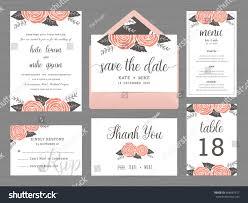 set wedding suite template decorate rose stock vector 458087617